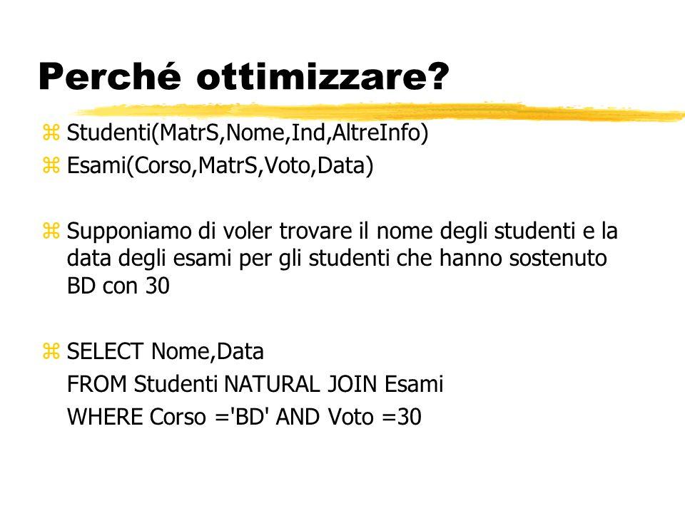 Perché ottimizzare? zStudenti(MatrS,Nome,Ind,AltreInfo) zEsami(Corso,MatrS,Voto,Data) zSupponiamo di voler trovare il nome degli studenti e la data de