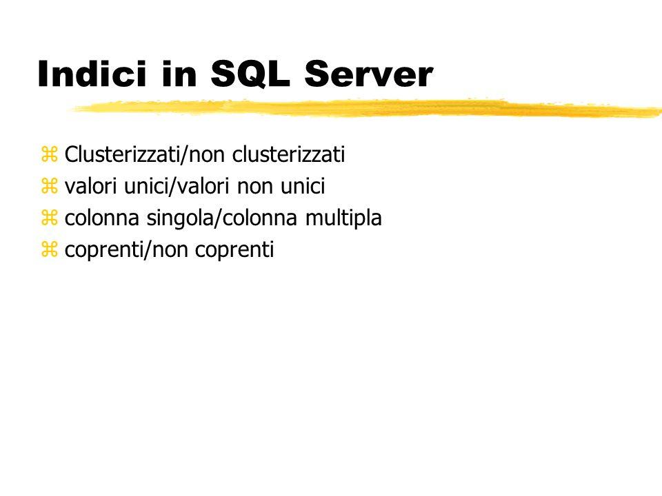 Indici in SQL Server zClusterizzati/non clusterizzati zvalori unici/valori non unici zcolonna singola/colonna multipla zcoprenti/non coprenti