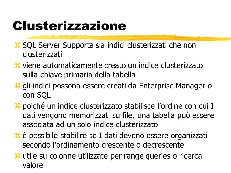 Clusterizzazione zSQL Server Supporta sia indici clusterizzati che non clusterizzati zviene automaticamente creato un indice clusterizzato sulla chiav