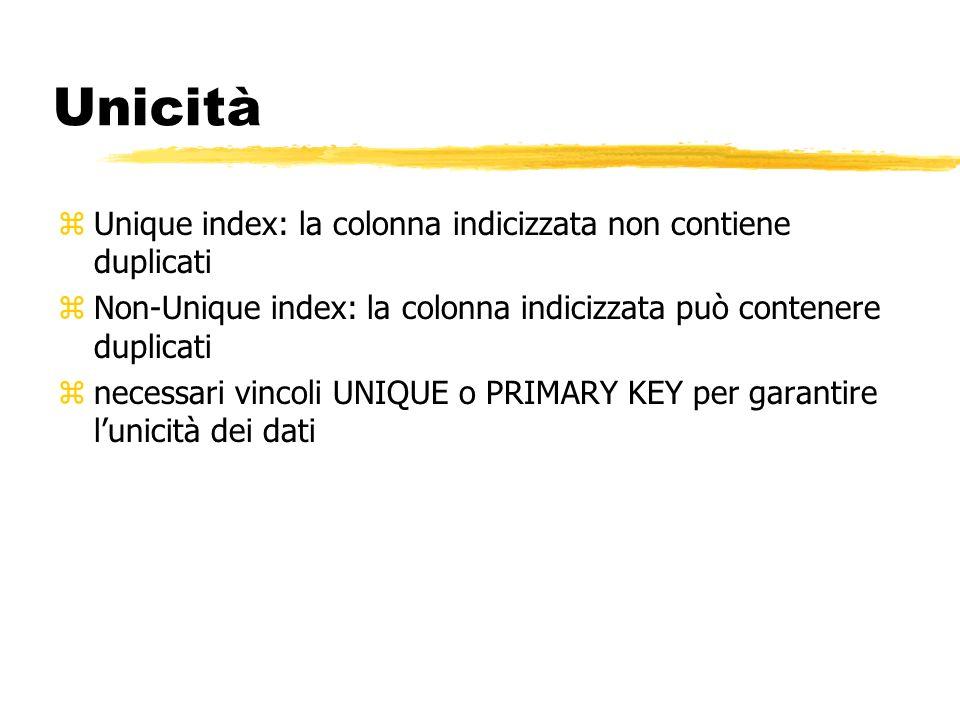 Unicità zUnique index: la colonna indicizzata non contiene duplicati zNon-Unique index: la colonna indicizzata può contenere duplicati znecessari vinc