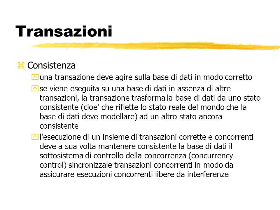 Transazioni zConsistenza yuna transazione deve agire sulla base di dati in modo corretto yse viene eseguita su una base di dati in assenza di altre tr