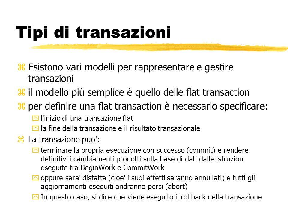 Tipi di transazioni zEsistono vari modelli per rappresentare e gestire transazioni zil modello più semplice è quello delle flat transaction zper defin