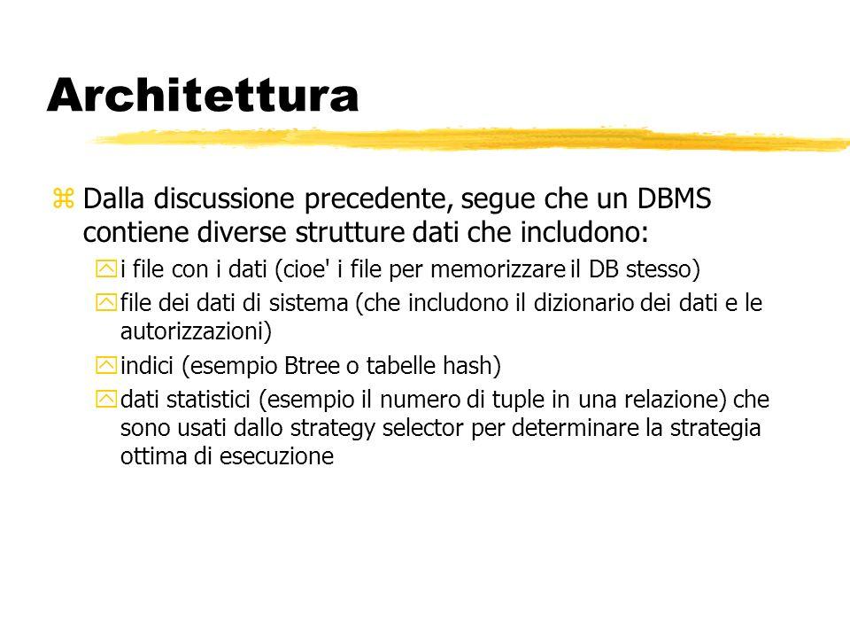 Architettura zDalla discussione precedente, segue che un DBMS contiene diverse strutture dati che includono: yi file con i dati (cioe' i file per memo