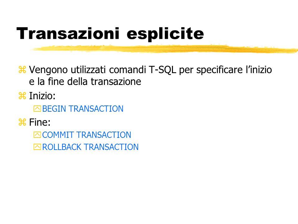 Transazioni esplicite zVengono utilizzati comandi T-SQL per specificare linizio e la fine della transazione zInizio: yBEGIN TRANSACTION zFine: yCOMMIT