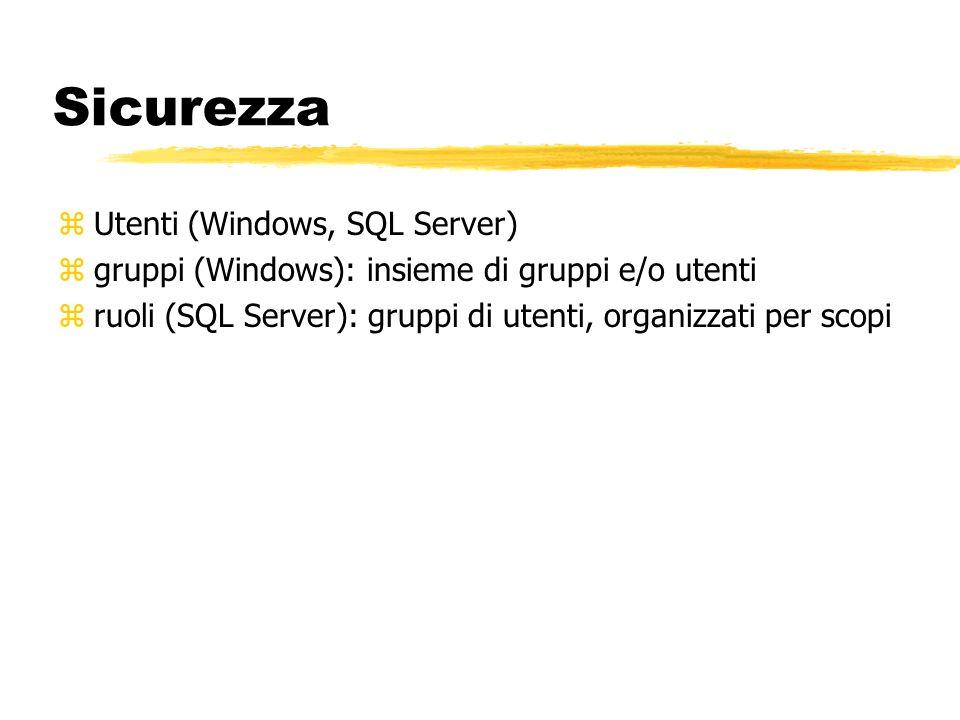 Sicurezza zUtenti (Windows, SQL Server) zgruppi (Windows): insieme di gruppi e/o utenti zruoli (SQL Server): gruppi di utenti, organizzati per scopi