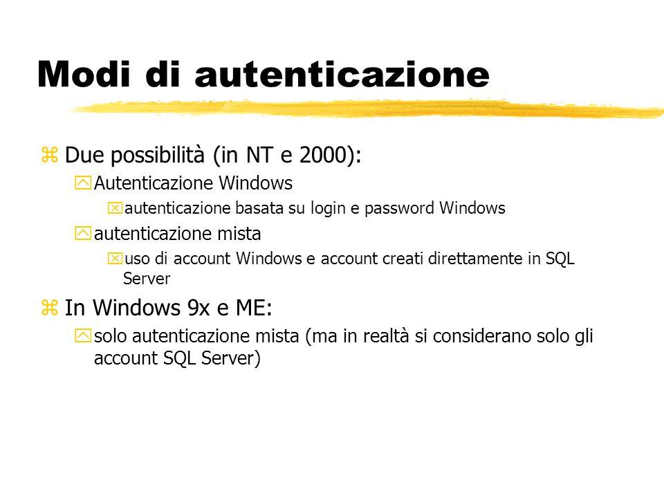 Modi di autenticazione zDue possibilità (in NT e 2000): yAutenticazione Windows xautenticazione basata su login e password Windows yautenticazione mis