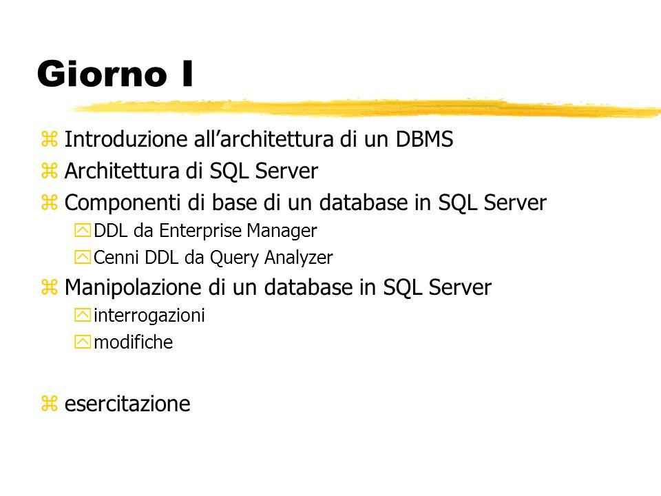Giorno I zIntroduzione allarchitettura di un DBMS zArchitettura di SQL Server zComponenti di base di un database in SQL Server yDDL da Enterprise Mana