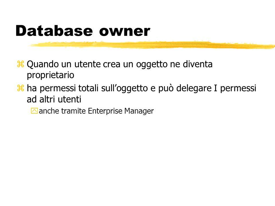 Database owner zQuando un utente crea un oggetto ne diventa proprietario zha permessi totali sulloggetto e può delegare I permessi ad altri utenti yan