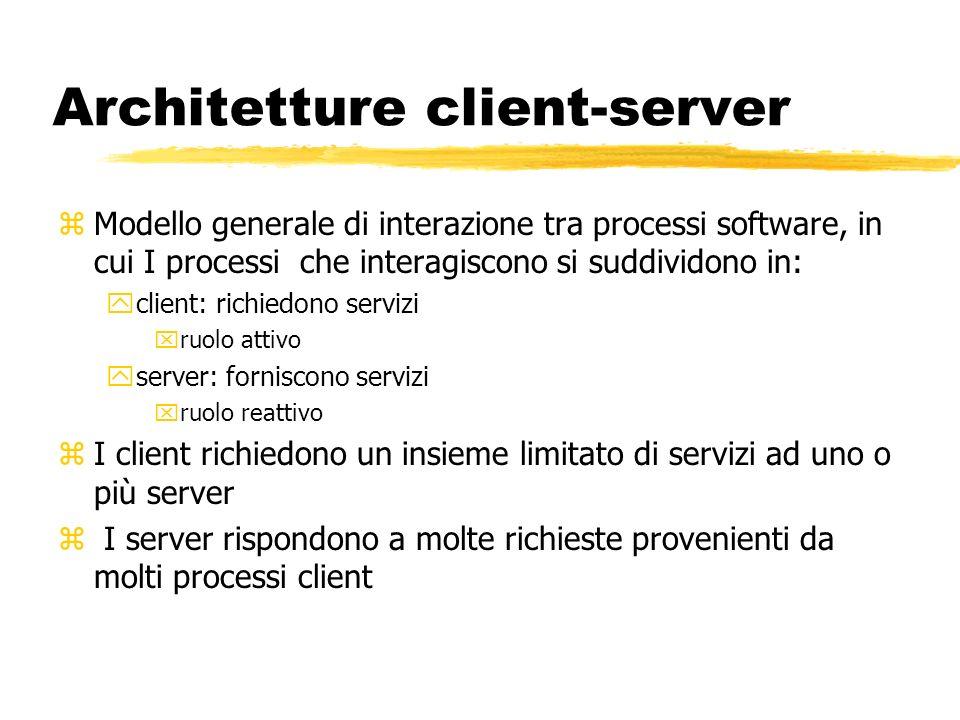 Architetture client-server zModello generale di interazione tra processi software, in cui I processi che interagiscono si suddividono in: yclient: ric