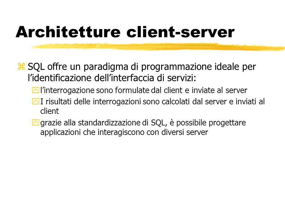 Architetture client-server zSQL offre un paradigma di programmazione ideale per lidentificazione dellinterfaccia di servizi: ylinterrogazione sono for