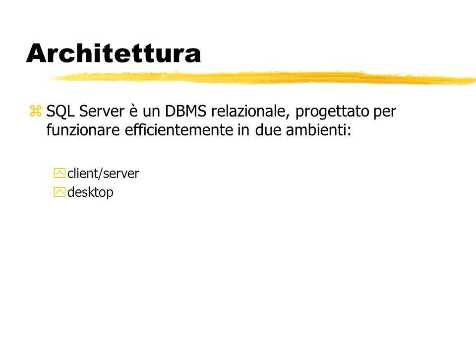 Architettura zSQL Server è un DBMS relazionale, progettato per funzionare efficientemente in due ambienti: yclient/server ydesktop