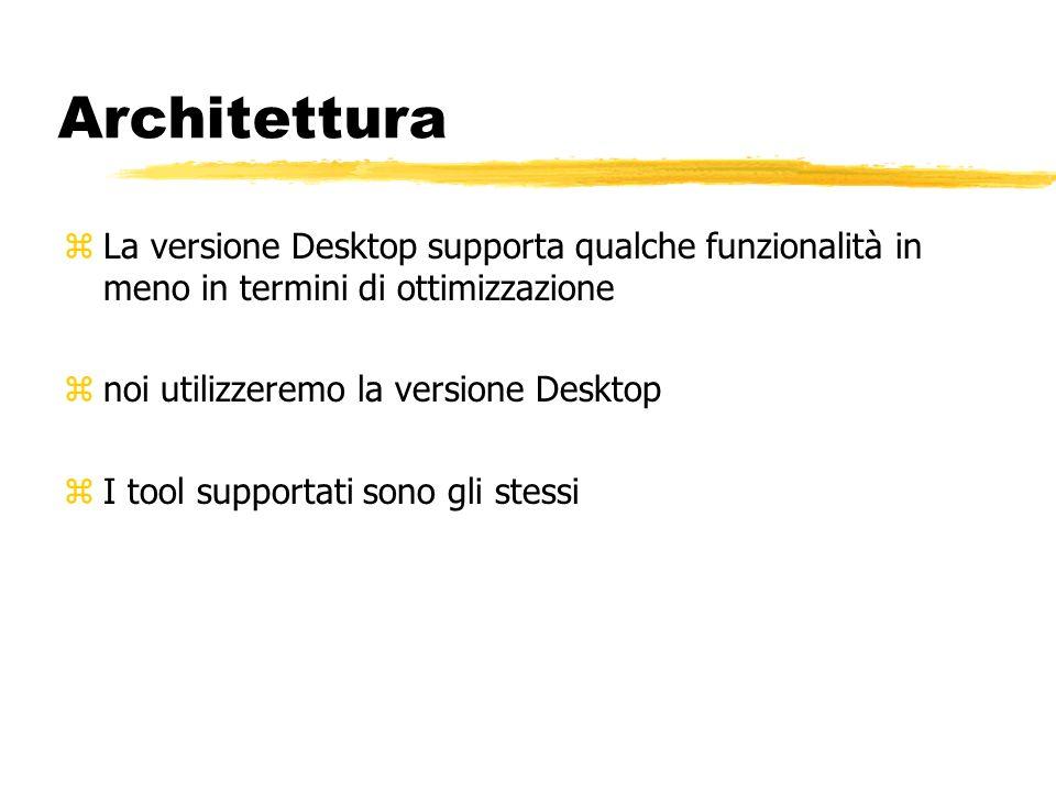 Architettura zLa versione Desktop supporta qualche funzionalità in meno in termini di ottimizzazione znoi utilizzeremo la versione Desktop zI tool sup