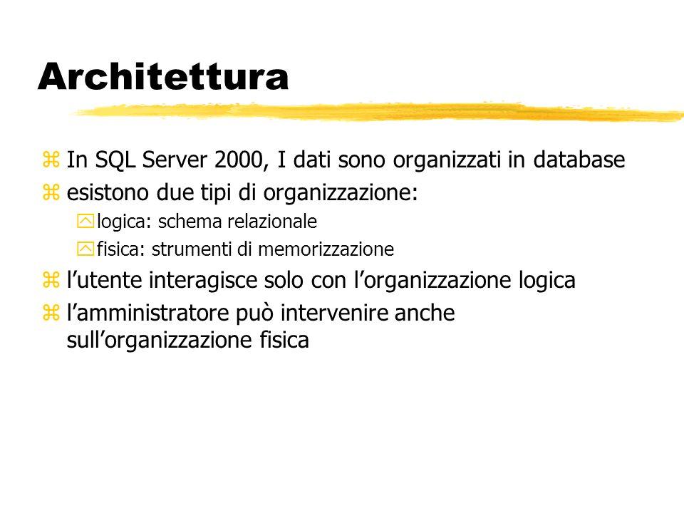 Architettura zIn SQL Server 2000, I dati sono organizzati in database zesistono due tipi di organizzazione: ylogica: schema relazionale yfisica: strum
