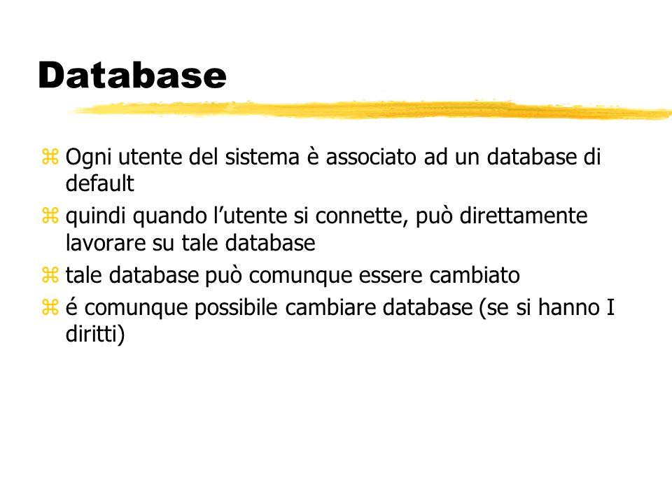 Database zOgni utente del sistema è associato ad un database di default zquindi quando lutente si connette, può direttamente lavorare su tale database