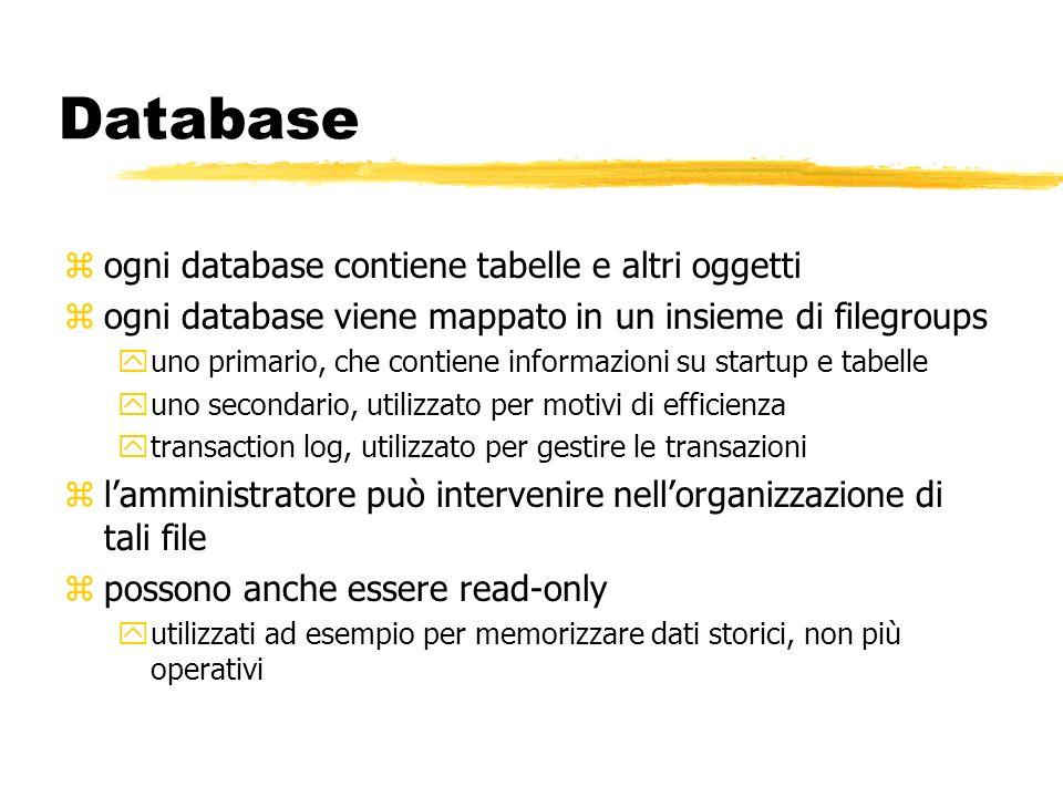 Database zogni database contiene tabelle e altri oggetti zogni database viene mappato in un insieme di filegroups yuno primario, che contiene informaz
