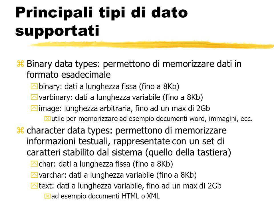Principali tipi di dato supportati zBinary data types: permettono di memorizzare dati in formato esadecimale ybinary: dati a lunghezza fissa (fino a 8