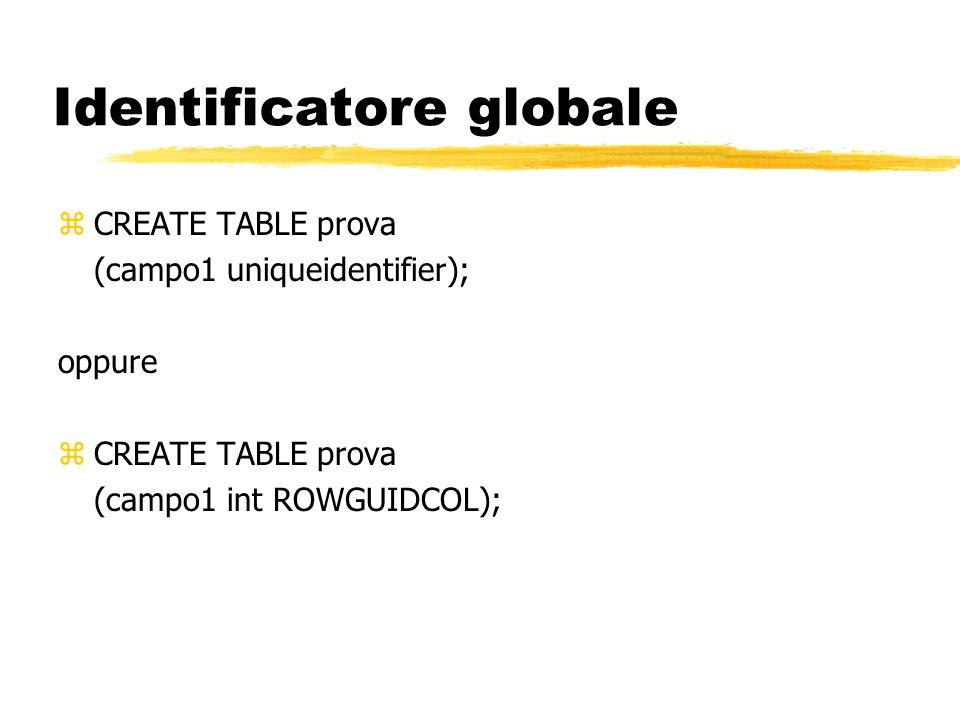 Identificatore globale zCREATE TABLE prova (campo1 uniqueidentifier); oppure zCREATE TABLE prova (campo1 int ROWGUIDCOL);
