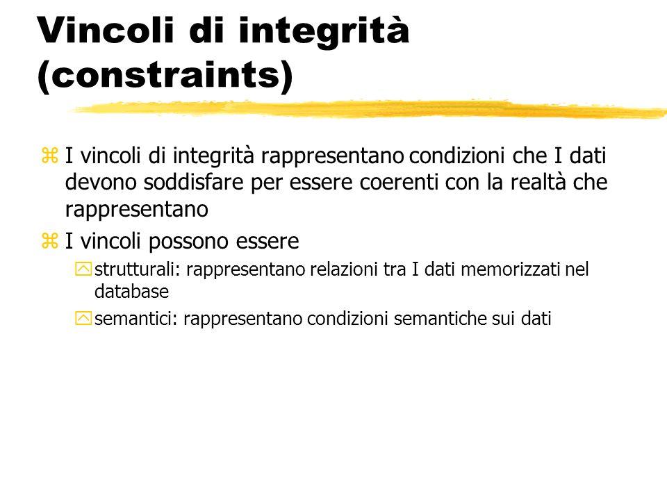 Vincoli di integrità (constraints) zI vincoli di integrità rappresentano condizioni che I dati devono soddisfare per essere coerenti con la realtà che