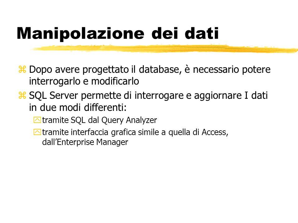Manipolazione dei dati zDopo avere progettato il database, è necessario potere interrogarlo e modificarlo zSQL Server permette di interrogare e aggior