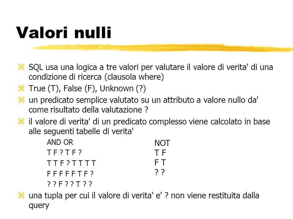Valori nulli zSQL usa una logica a tre valori per valutare il valore di verita' di una condizione di ricerca (clausola where) zTrue (T), False (F), Un
