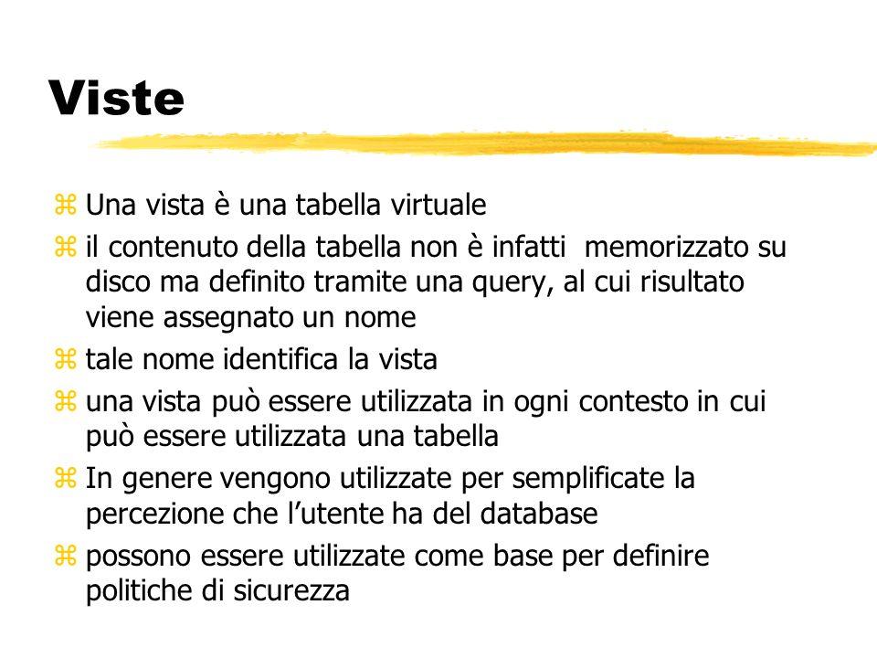 Viste zUna vista è una tabella virtuale zil contenuto della tabella non è infatti memorizzato su disco ma definito tramite una query, al cui risultato