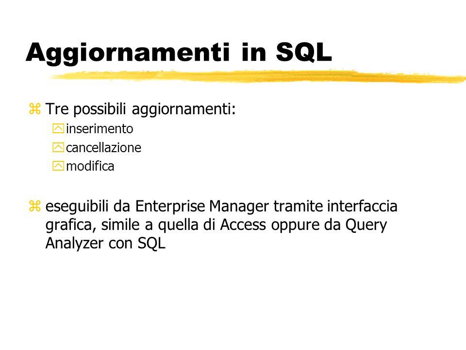 Aggiornamenti in SQL zTre possibili aggiornamenti: yinserimento ycancellazione ymodifica zeseguibili da Enterprise Manager tramite interfaccia grafica