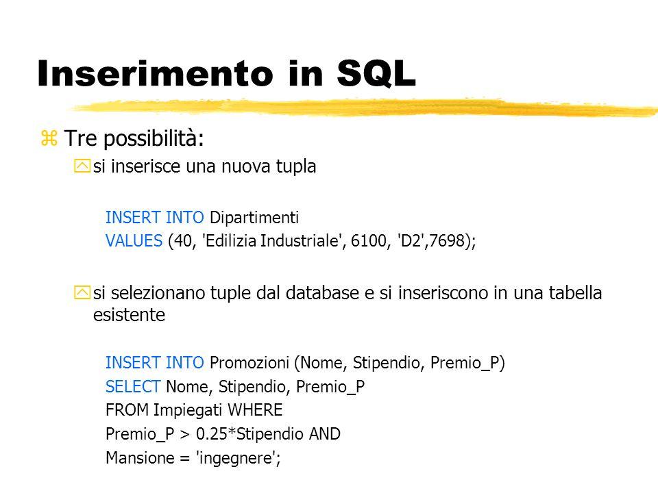 Inserimento in SQL zTre possibilità: ysi inserisce una nuova tupla INSERT INTO Dipartimenti VALUES (40, 'Edilizia Industriale', 6100, 'D2',7698); ysi