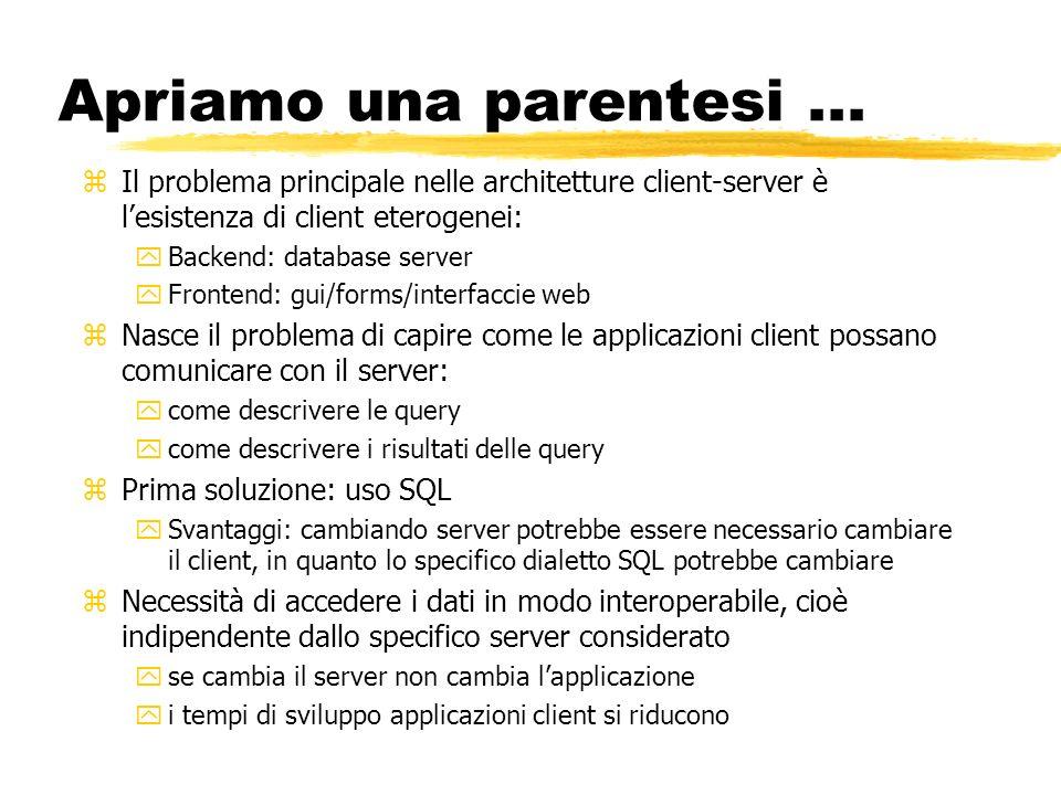 Apriamo una parentesi... zIl problema principale nelle architetture client-server è lesistenza di client eterogenei: yBackend: database server yFronte