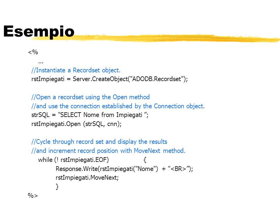 Esempio <%... //Instantiate a Recordset object. rstImpiegati = Server.CreateObject(