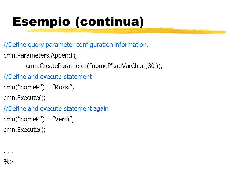 Esempio (continua) //Define query parameter configuration information. cmn.Parameters.Append ( cmn.CreateParameter(nomeP