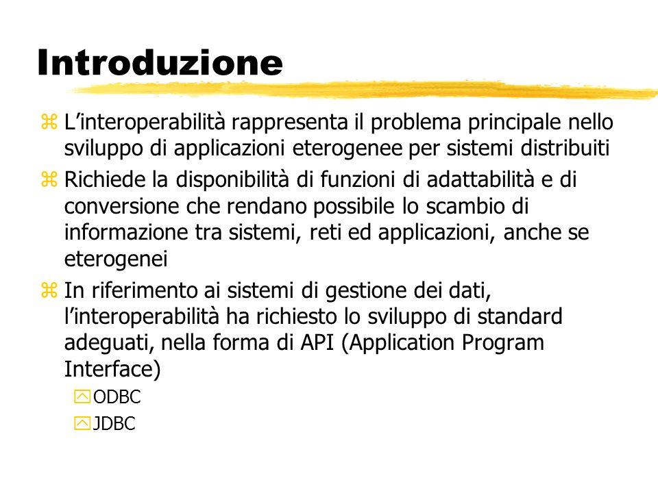 Introduzione zLinteroperabilità rappresenta il problema principale nello sviluppo di applicazioni eterogenee per sistemi distribuiti zRichiede la disp