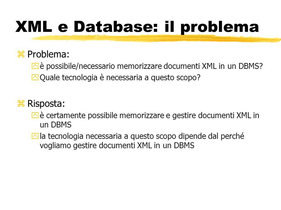 XML e Database: il problema zProblema: yè possibile/necessario memorizzare documenti XML in un DBMS? yQuale tecnologia è necessaria a questo scopo? zR