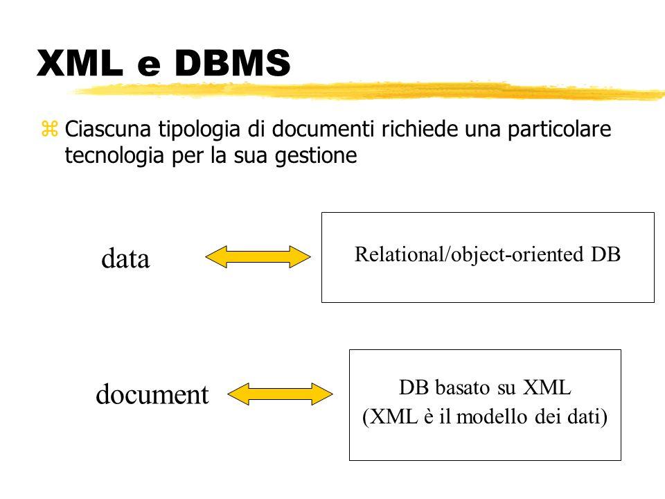 XML e DBMS zCiascuna tipologia di documenti richiede una particolare tecnologia per la sua gestione data document Relational/object-oriented DB DB bas