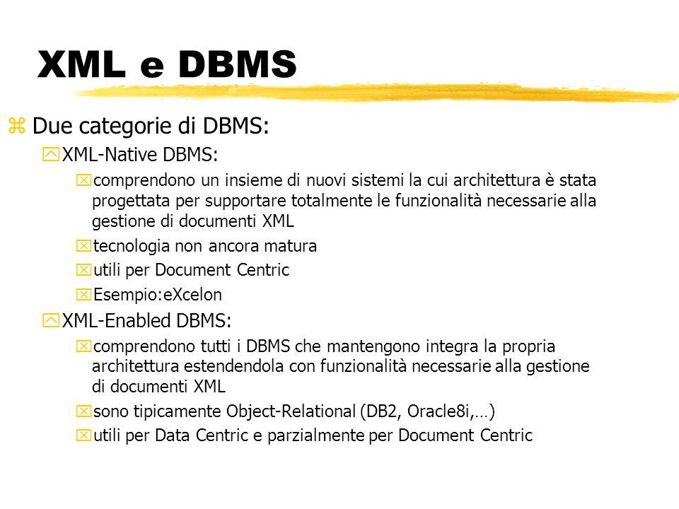 XML e DBMS zDue categorie di DBMS: yXML-Native DBMS: xcomprendono un insieme di nuovi sistemi la cui architettura è stata progettata per supportare to