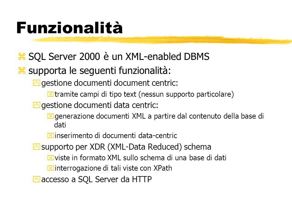 Funzionalità zSQL Server 2000 è un XML-enabled DBMS zsupporta le seguenti funzionalità: ygestione documenti document centric: xtramite campi di tipo t