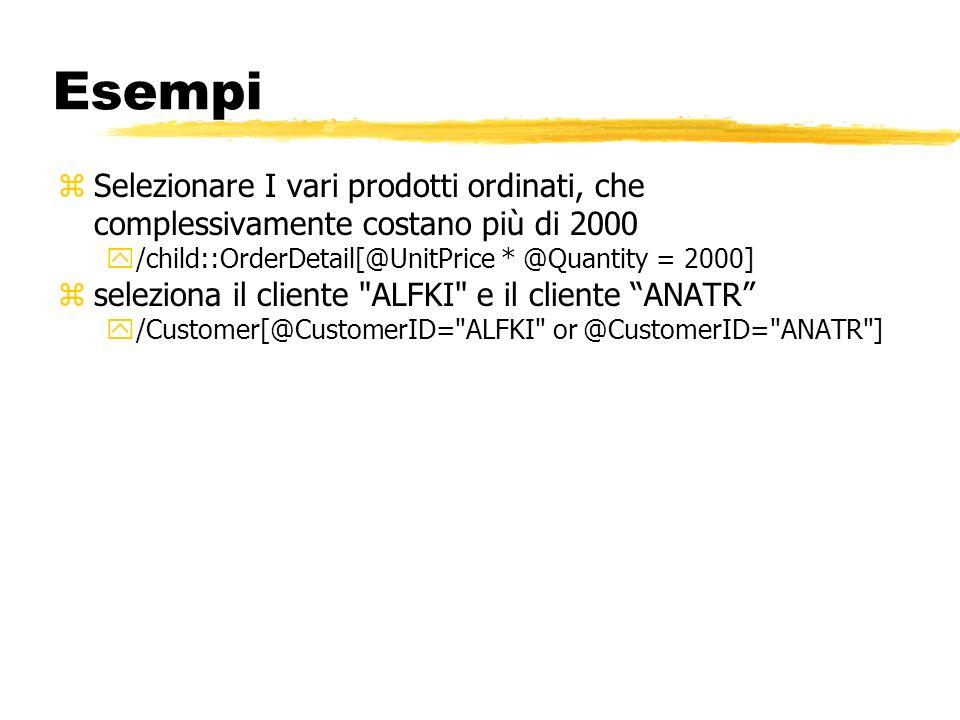 Esempi zSelezionare I vari prodotti ordinati, che complessivamente costano più di 2000 y/child::OrderDetail[@UnitPrice * @Quantity = 2000] zseleziona