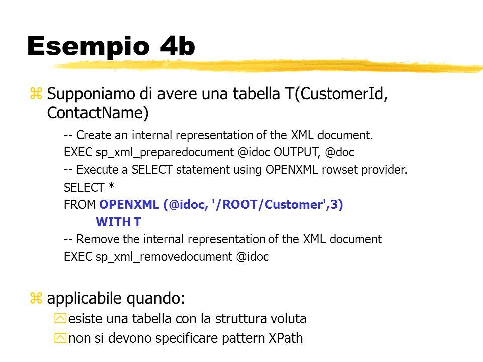 Esempio 4b zSupponiamo di avere una tabella T(CustomerId, ContactName) zapplicabile quando: yesiste una tabella con la struttura voluta ynon si devono