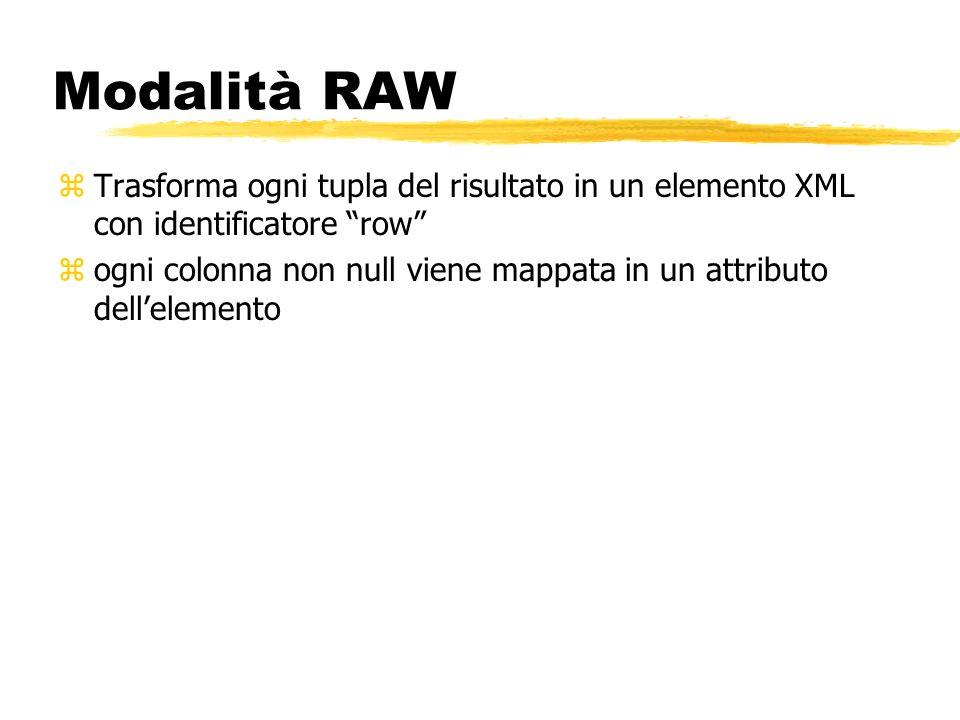 Modalità RAW zTrasforma ogni tupla del risultato in un elemento XML con identificatore row zogni colonna non null viene mappata in un attributo dellel