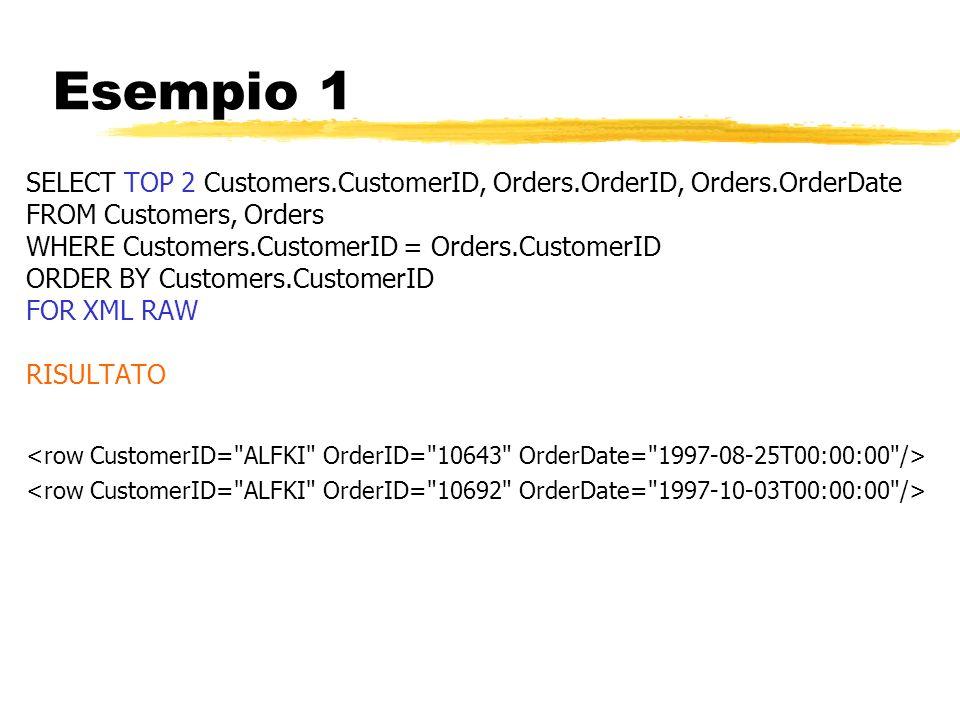 Esempio 1 SELECT TOP 2 Customers.CustomerID, Orders.OrderID, Orders.OrderDate FROM Customers, Orders WHERE Customers.CustomerID = Orders.CustomerID OR