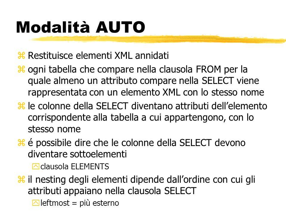 Modalità AUTO zRestituisce elementi XML annidati zogni tabella che compare nella clausola FROM per la quale almeno un attributo compare nella SELECT v