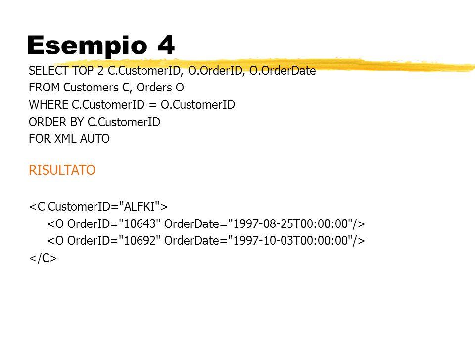 Esempio 4 SELECT TOP 2 C.CustomerID, O.OrderID, O.OrderDate FROM Customers C, Orders O WHERE C.CustomerID = O.CustomerID ORDER BY C.CustomerID FOR XML