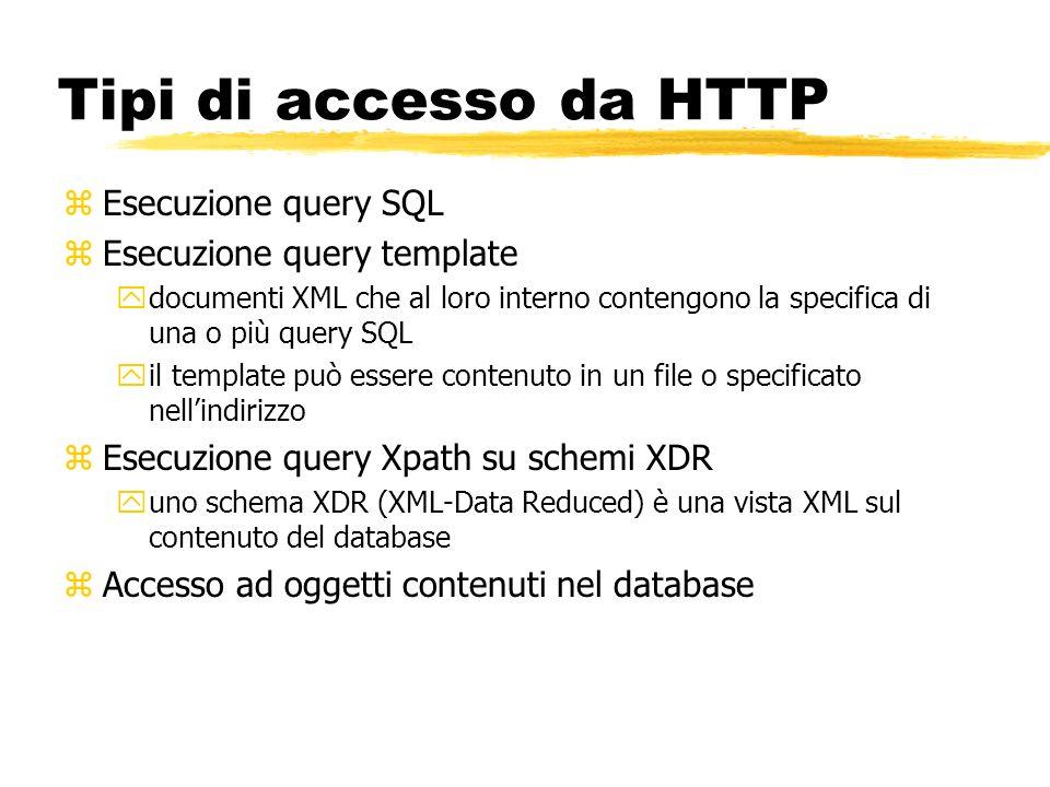 Tipi di accesso da HTTP zEsecuzione query SQL zEsecuzione query template ydocumenti XML che al loro interno contengono la specifica di una o più query