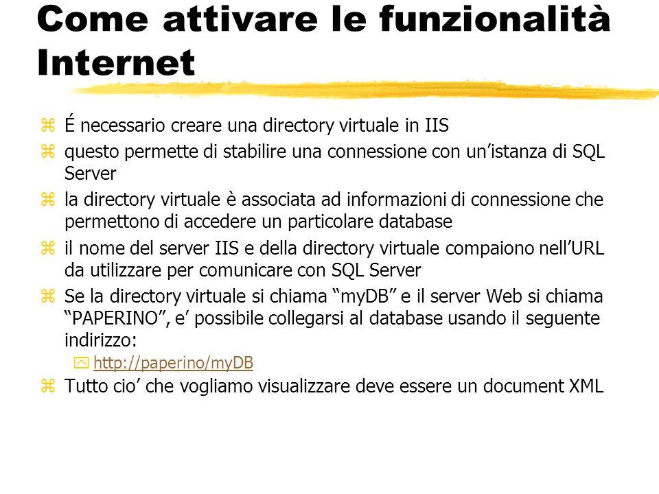 Come attivare le funzionalità Internet zÉ necessario creare una directory virtuale in IIS zquesto permette di stabilire una connessione con unistanza