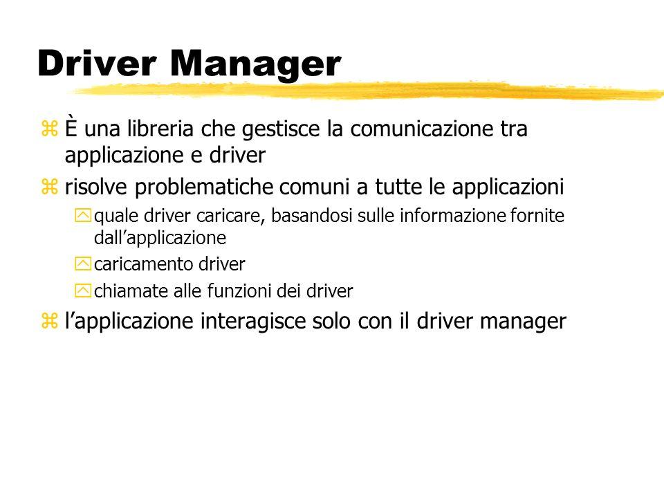 Driver Manager zÈ una libreria che gestisce la comunicazione tra applicazione e driver zrisolve problematiche comuni a tutte le applicazioni yquale dr