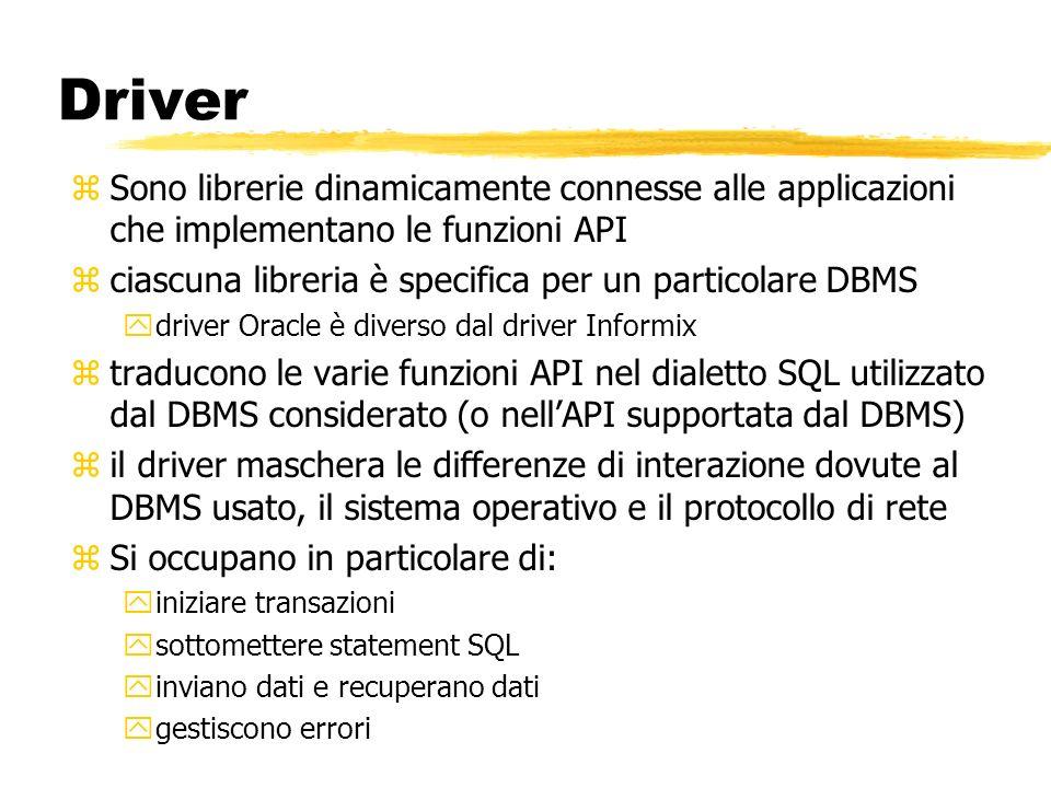 Driver zSono librerie dinamicamente connesse alle applicazioni che implementano le funzioni API zciascuna libreria è specifica per un particolare DBMS