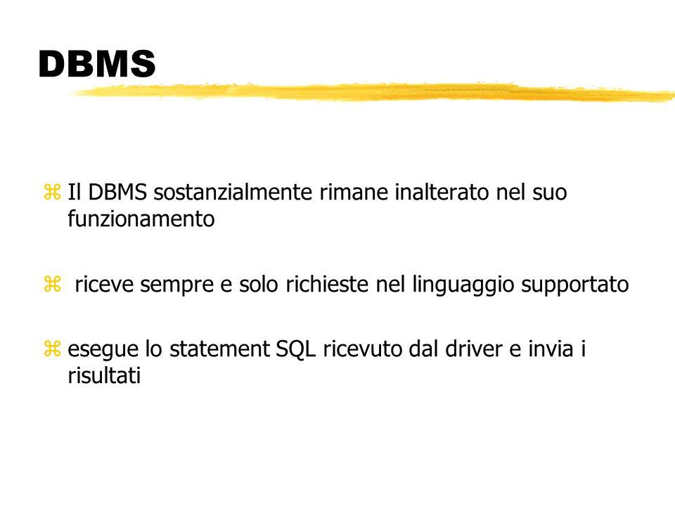 DBMS zIl DBMS sostanzialmente rimane inalterato nel suo funzionamento z riceve sempre e solo richieste nel linguaggio supportato zesegue lo statement