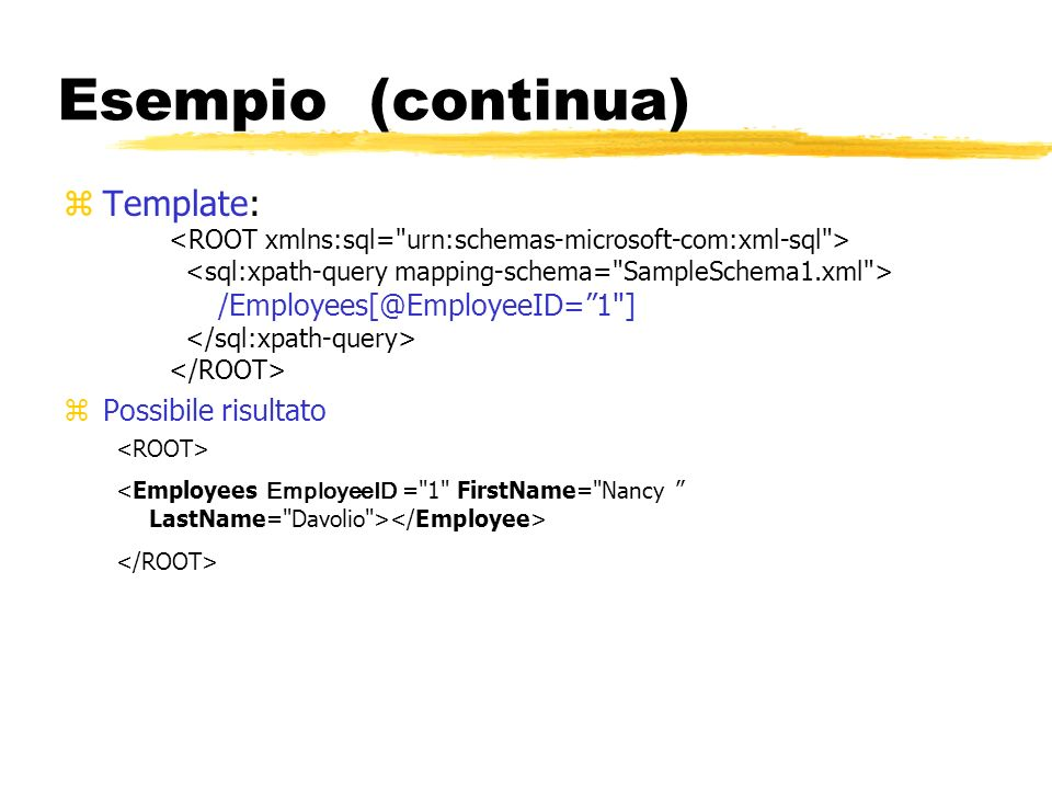 Esempio (continua) zTemplate: /Employees[@EmployeeID=1