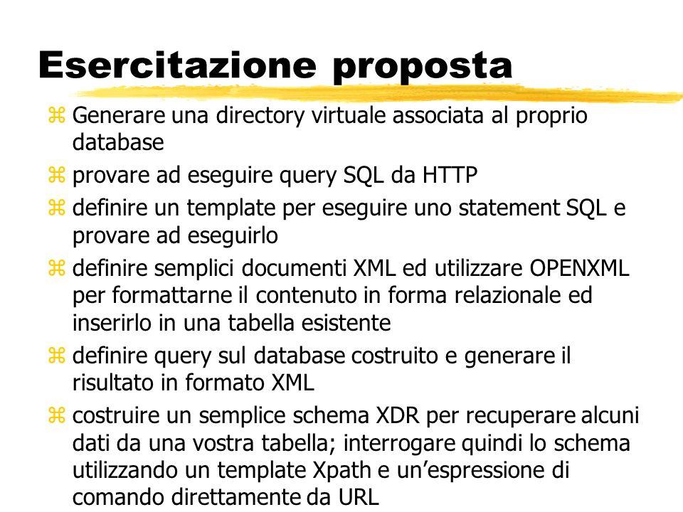 Esercitazione proposta zGenerare una directory virtuale associata al proprio database zprovare ad eseguire query SQL da HTTP zdefinire un template per