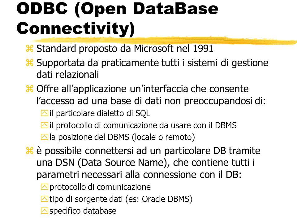 ODBC (Open DataBase Connectivity) zStandard proposto da Microsoft nel 1991 zSupportata da praticamente tutti i sistemi di gestione dati relazionali zO
