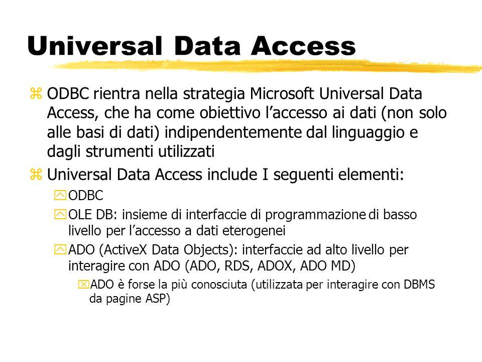 Universal Data Access zODBC rientra nella strategia Microsoft Universal Data Access, che ha come obiettivo laccesso ai dati (non solo alle basi di dat